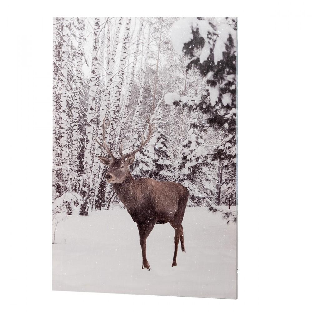 Tela Con Cervo In Un Paesaggio Innevato Con Luci Led.