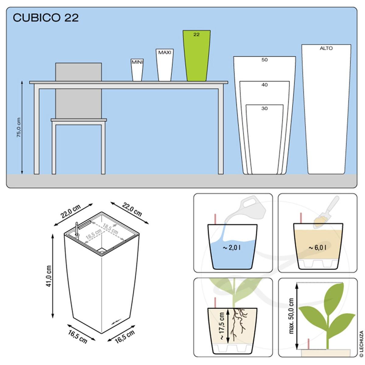 Vaso Alto Cubico Premium Tortora Lechuza
