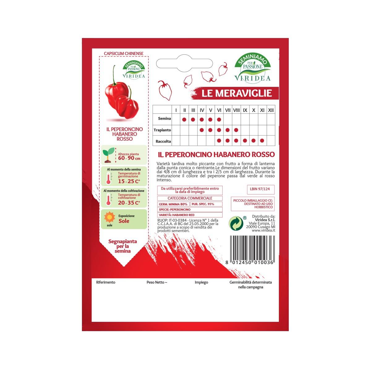Semi Peperoncino Habanero Rosso Viridea