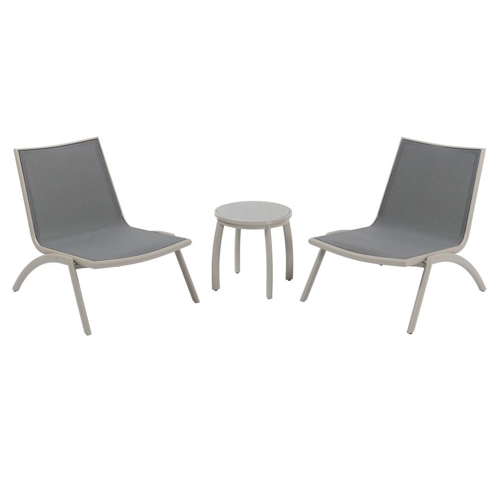Set Tavolino Rotondo E Poltrone Relax Per 2 Persone Monaco