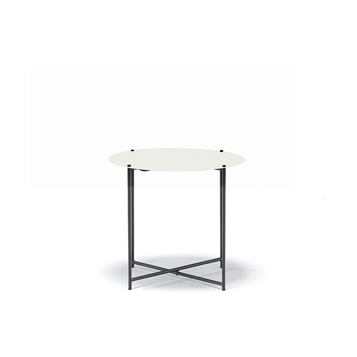 Tavolo Richiudibile Rotondo Da Esterno In Ferro Antracite Top Bianco