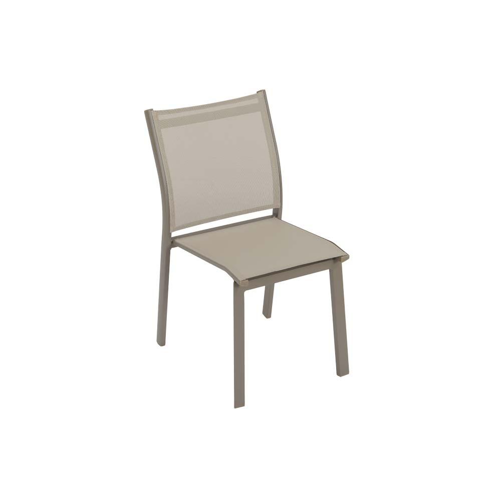 Sedia Da Esterno Karol Alluminio Taupe E Texture Khaki Impilabile